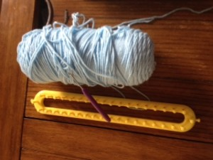 This is said knitting loom. Just as effective but without the danger.